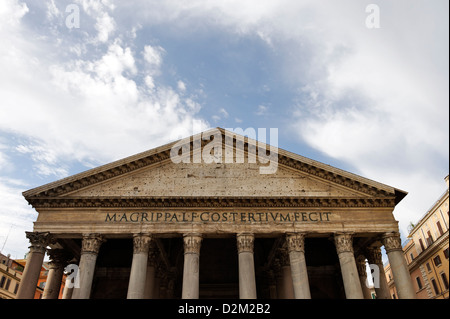 Rome. Italy. View of the grandiose granite columned portico and pediment of the Pantheon, an architectural masterpiece. - Stock Photo