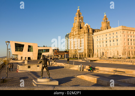 Pier head ferry terminal with Liver Buildings, Liverpool, England - Stock Photo