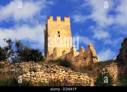 Old castle of the Knights Templar in Alcala de Xivert, Spain. - Stock Photo