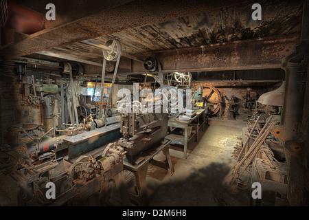 Machine workshop, Masson Mills, Matlock, Derbyshire, England, UK. - Stock Photo