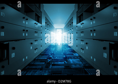 Office with binary numbers on the floor - Stock Photo