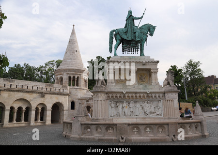 Fisherman's Bastion with statue of Saint Stephen in Budapest, Hungary - Stock Photo