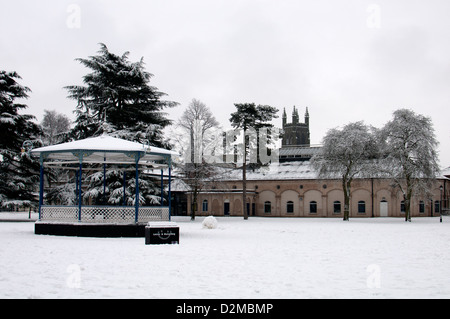 Pump Room Gardens in winter, Leamington Spa, Warwickshire, UK - Stock Photo