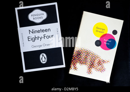 George Orwell's - most well known books - Nineteen Eighty-Four and Animal Farm - published by Penguin Books. - Stock Photo