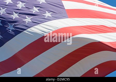 American Flag waving in wind - Stock Photo