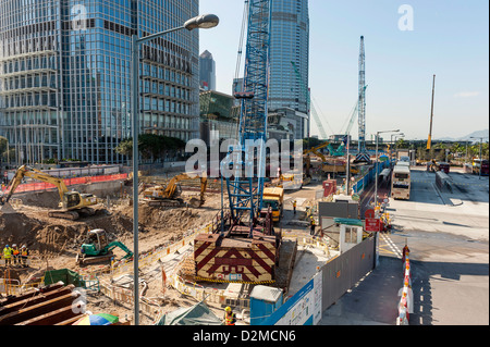 Large Construction site, building site near the Pier in Hong Kong. - Stock Photo