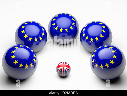 Large European Union flag spheres crowding round tiny British Union flag - European Union relationship relations - Stock Photo