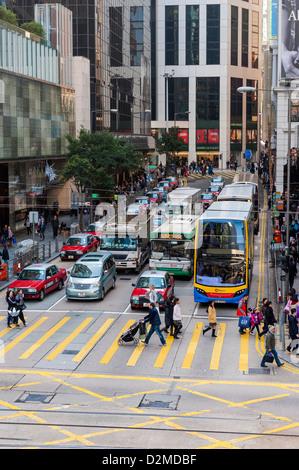 Traffic, Hong Kong street - Stock Photo