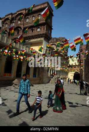 General view of India flags decorating the courtyard of the Mehrangarh Fort in Jodhpur, Rajasthan, India - Stock Photo