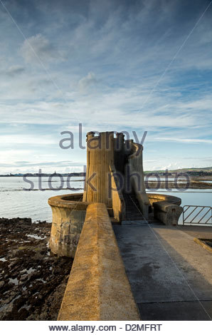 The Watch Tower, Saltcoats - and South Beach, Ardrossan, Ayrshire - Stock Photo