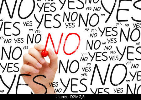 Hand writing No with red marker on transparent wipe board. - Stock Photo