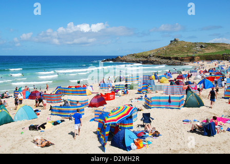A summers day at Porthmeor beach, St.Ives, Cornwall, UK - Stock Photo