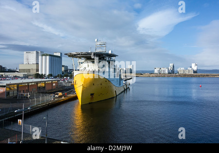 Multi purpose offshore vessel M.V. Reef Despina moored at the Cruise terminal in Leith Western Harbour Scotland - Stock Photo