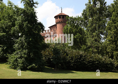The Medieval Castle at the Valentino (Borgo Medioevale Torino) in Turin - Stock Photo