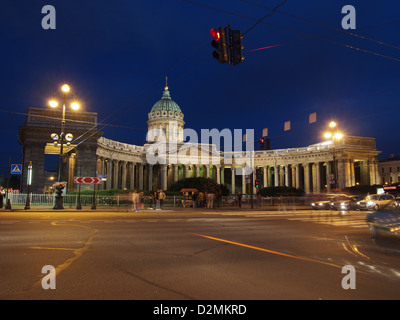 The Cathedral of Our Lady of Kazan on Nevsky Prospekt in St. Petersburg, Russia, during the White Nights - Stock Photo