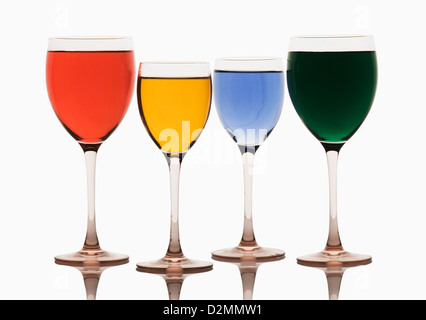 Close-up of assorted cocktails in wine glasses - Stock Photo