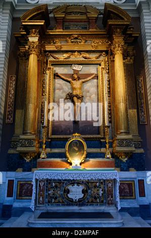 Rome Italy. The San Carlo al Corso (Santi Ambrogio e Carlo al Corso) a Basilica church on Via del Corso near Piazza - Stock Photo