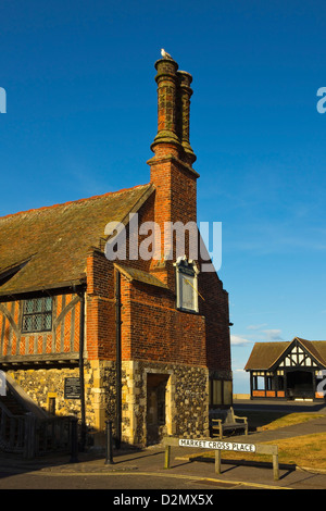 The historic 16thC Moot Hall, a Grade I listed building, formerly a meeting hall, now a museum; Aldeburgh, Suffolk, - Stock Photo