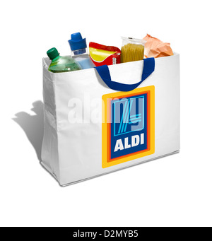 A white Aldi shopping bag full of groceries on a white background
