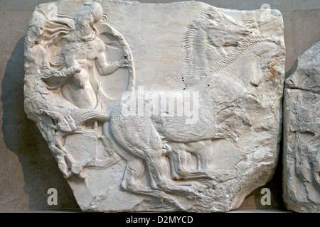 Soldier in chariot, Frieze, Parthenon, British Museum, London, England, UK, GB, British Isles - Stock Photo