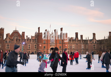 A skating rink in front of Hampton Court Palace, Greater London, England, United Kingdom, Europe