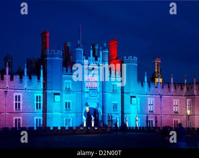 A light show at Hampton Court Palace, Greater London, England, United Kingdom, Europe