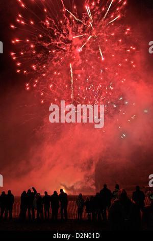 Villagers at firework display, Widecombe-in-the-Moor, Dartmoor, Devon, England, United Kingdom, Europe - Stock Photo
