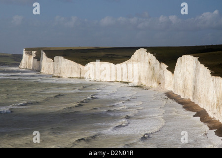 Seven Sisters from Birling Gap, South Downs National Park, East Sussex, England, United Kingdom, Europe - Stock Photo