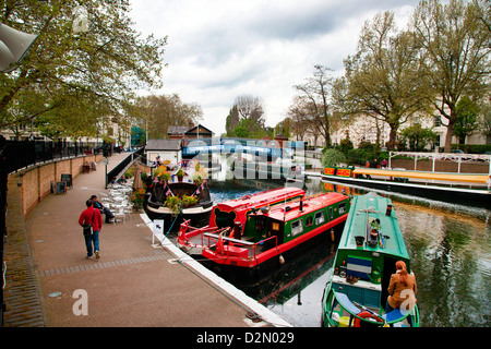 View along the Grand Union Canal, Little Venice, Maida Vale, London, England, United Kingdom, Europe - Stock Photo