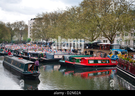 Houseboats on the Grand Union Canal, Little Venice, Maida Vale, London, England, United Kingdom, Europe - Stock Photo