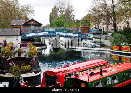 The Grand Union Canal showing the Westbourne Terrace Road Bridge, Little Venice, Maida Vale, London, England, UK - Stock Photo