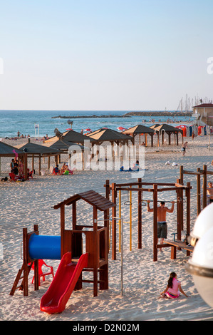Beach huts and Leisure Area at Gordon Beach, Tel Aviv, Israel, Middle East - Stock Photo