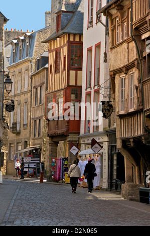 Medieval half timbered houses in streets of old town, Dinan, Brittany, France, Europe Stock Photo