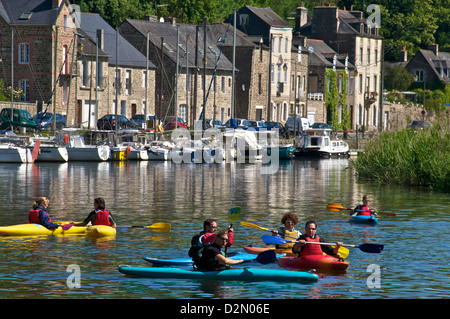 Canoe kayaks on River Rance, Dinan, Brittany, France, Europe - Stock Photo