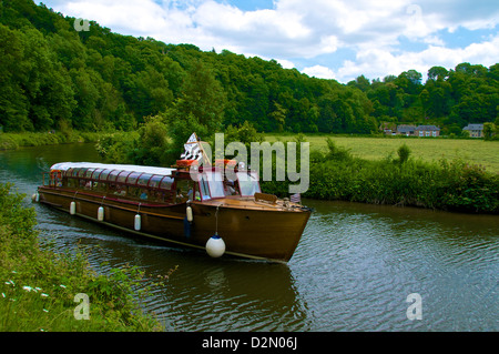 Tourist boat on River Rance, Dinan, Brittany, France, Europe - Stock Photo