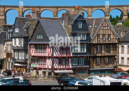 Medieval half timbered houses, with viaduct in the background, old town, Morlaix, Finistere, Brittany, France, Europe - Stock Photo