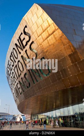 Wales Millennium Centre, Cardiff Bay, Cardiff, South Glamorgan, Wales, United Kingdom, Europe - Stock Photo