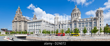 Pierhead Three Graces buildings, Liverpool Waterfront, Liverpool, Merseyside, England, UK - Stock Photo