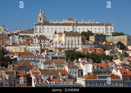 The Alfama district with the Sao Vicente de Fora Monastery, Lisbon, Portugal, Europe - Stock Photo
