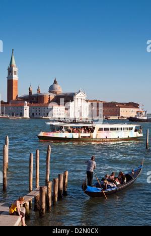 Quay at St. Mark's Square with gondolas, San Giorgio Maggiore Island, Venice, UNESCO World Heritage Site, Veneto, - Stock Photo