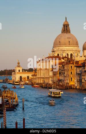 The Church of Santa Maria della Salute and the Grand Canal, from the Accademia Bridge, Venice, Veneto, Italy - Stock Photo