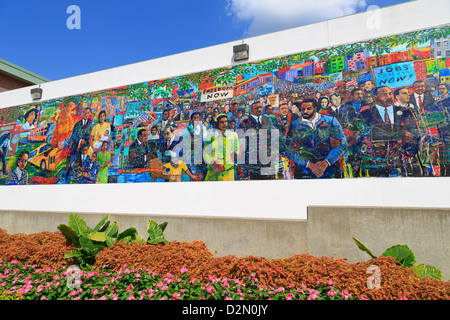 Martin Luther King Memorial Mural by Louis Delsarte, Martin Luther King Jr. National Historic Site, Atlanta, Georgia, - Stock Photo