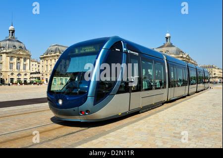 Tram, Place de la Bourse, Bordeaux, UNESCO World Heritage Site, Gironde, Aquitaine, France, Europe - Stock Photo