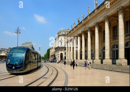 Le Grand Theatre, Place de la Comedie, Bordeaux, UNESCO World Heritage Site, Gironde, Aquitaine, France, Europe - Stock Photo