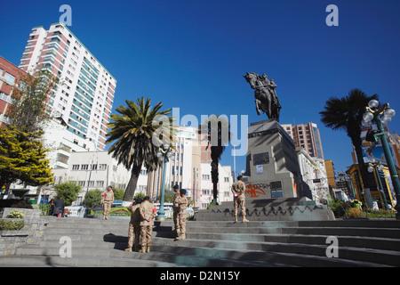 Statue of Antonio Jose de Sucre in Plaza del Estudiante, La Paz, Bolivia, South America - Stock Photo