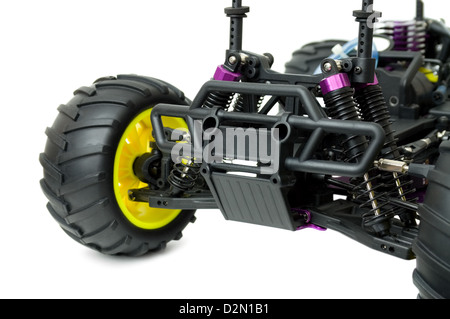 Close up of a toy RC Car Isolated on white background - Stock Photo