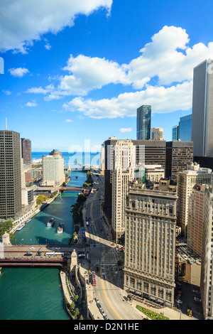 High angle view of Chicago River and Lake Michigan, Chicago, Illinois, United States of America, North America - Stock Photo