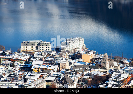 Zell am See panorama with the Grand Hotel in the middle, Austrian Alps, Austria. - Stock Photo