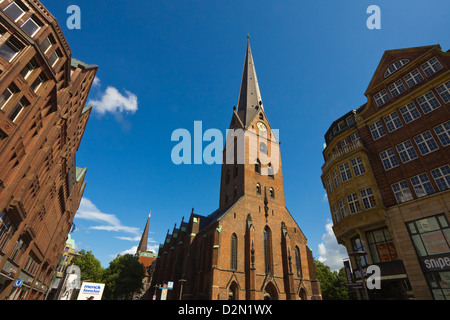 St. Peter's Cathedral, rebuilt several times since the 11th century, on Moenckebergstrasse and Bergstrasse, Hamburg, - Stock Photo