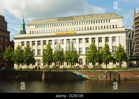 Branch of Commerzbank, on the Nikolaifleet, one of many waterways in the city, Hamburg, Germany - Stock Photo